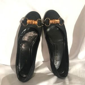 Gucci Bamboo Monogram Leather Ballet Flats Black